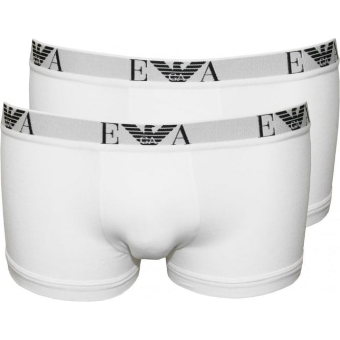 Emporio Armani Stretch Cotton 2-Pack Basic Boxer Trunks, White