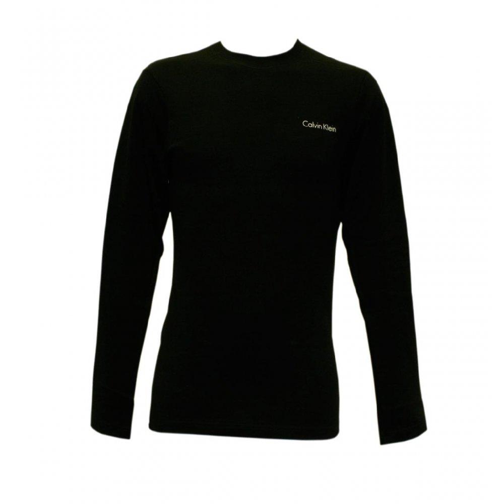 Black t shirt calvin klein - Image Is Loading Calvin Klein Long Sleeve Logo Black Men 039