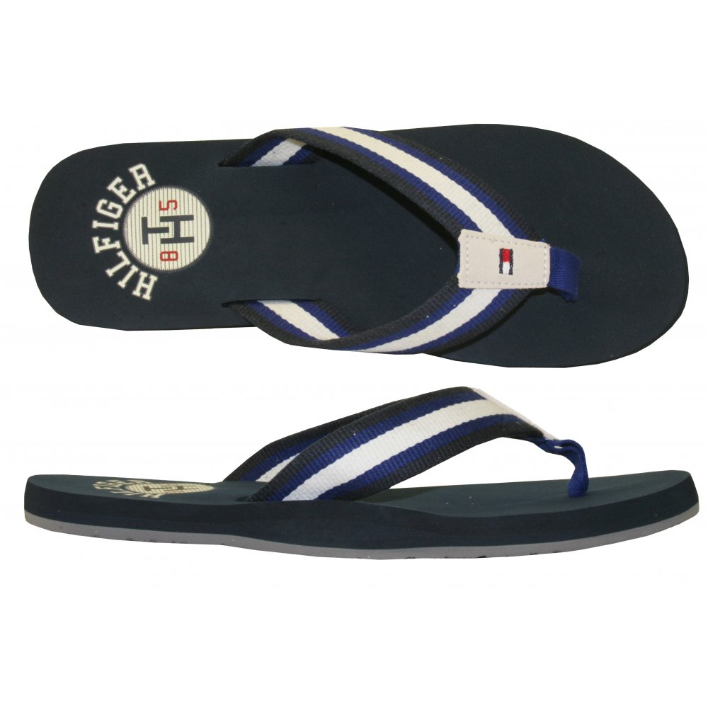 tommy hilfiger striped woven flip flops navy ebay. Black Bedroom Furniture Sets. Home Design Ideas