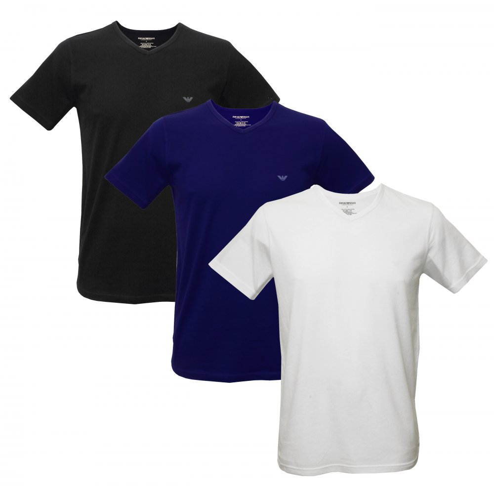 Black t shirt armani - Image Is Loading Emporio Armani 3 Pack Jersey Cotton T Shirts
