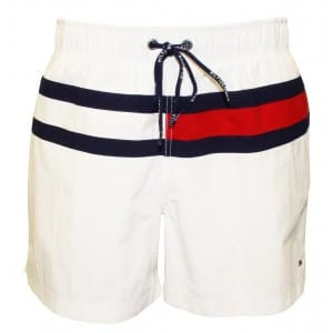 Tommy Hilfiger white flag swim shorts