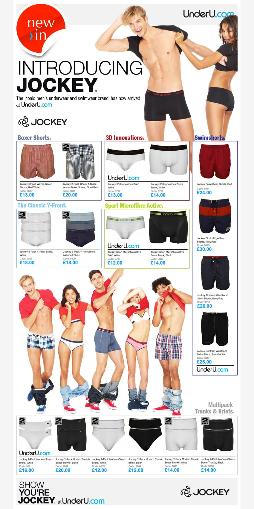 Jockey mens underwear and swimwear