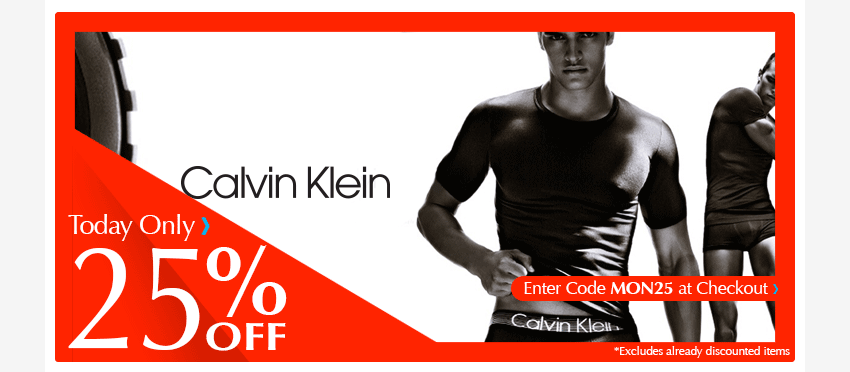 Calvin Klein Flash Sale - 25% off all orders today