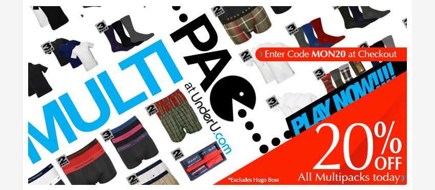Mens Multipacks Underwear and T-Shirts- 20% off Today