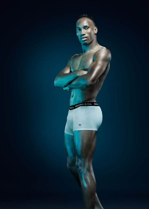 Didier Drogba models his pants at UnderU.com