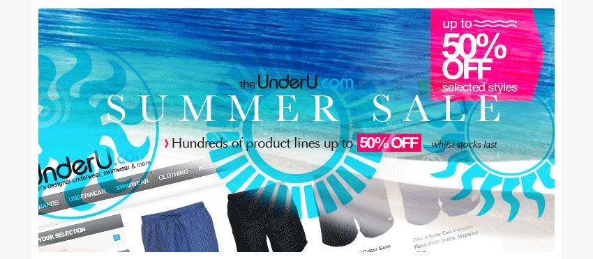 UnderU Summer Sale - underwear, swimwear, more - 50% off