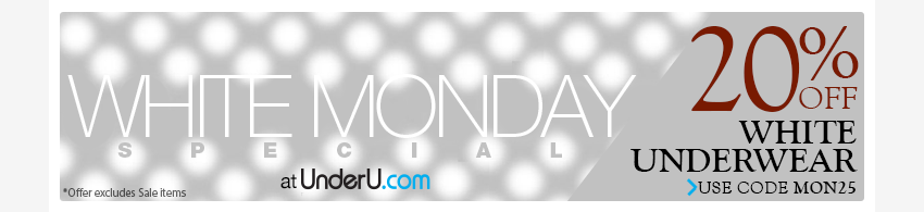 White Monday | 20% off all White Men's Underwear | UnderU