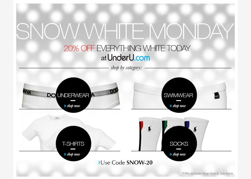 Snow White Monday - White Men's Underwear Sale | UnderU