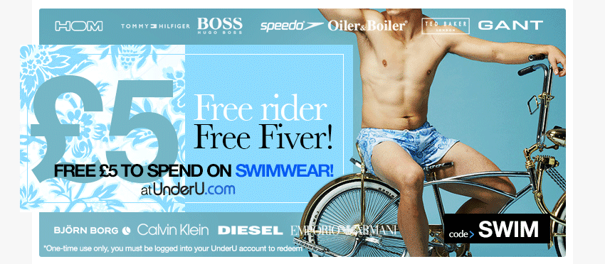 Free £5 Off Men's Swimwear Voucher | UnderU