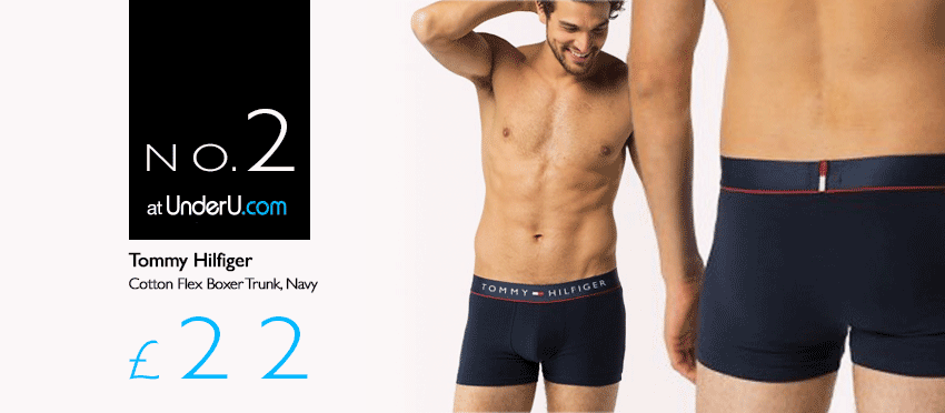 Tommy Hilfiger Navy Boxer Trunks with Cotton Flex | UnderU