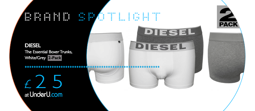 Diesel Boxer Trunks Multipack in Grey & White at UnderU