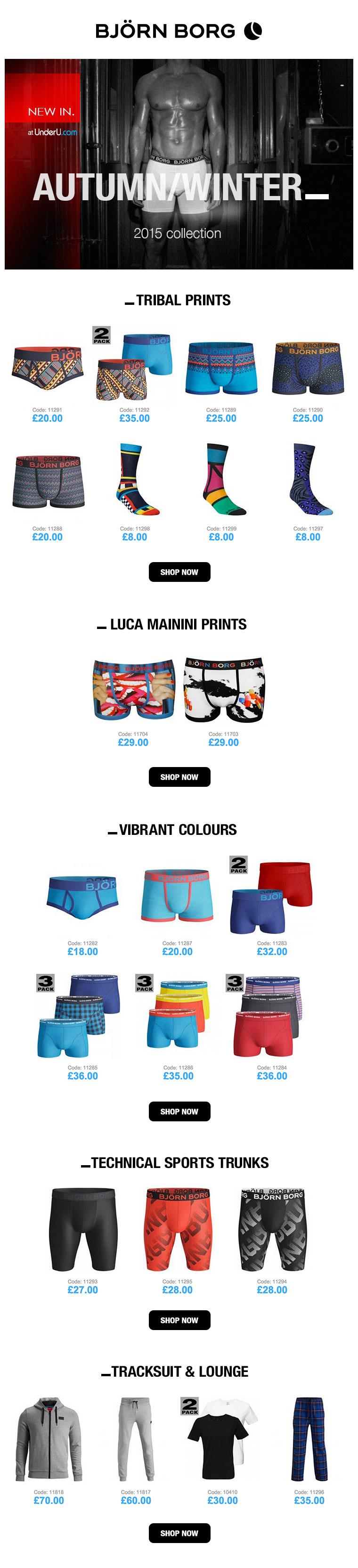 Bjorn Borg underwear & Bjorn Borg Boxers Collection for A/W 15 | UnderU