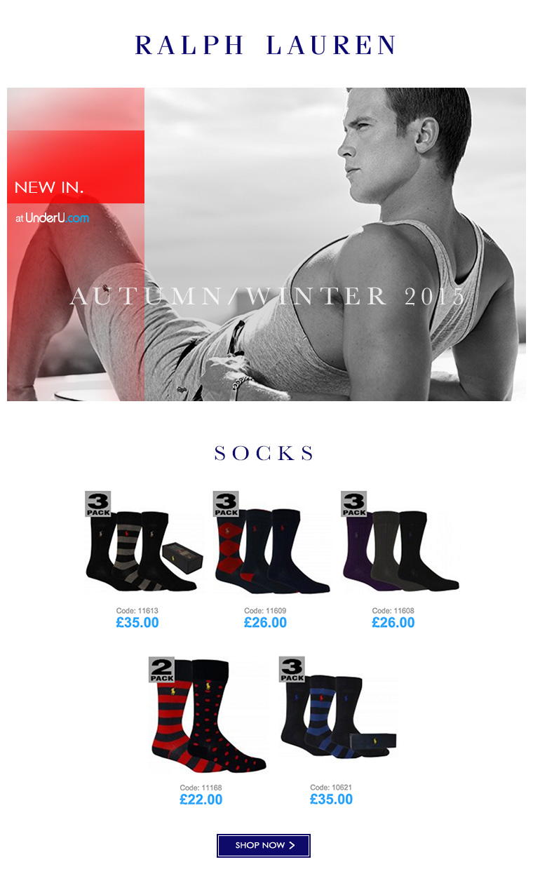 Polo Ralph Lauren Men's socks & Men's Underwear AW15 collection | UnderU