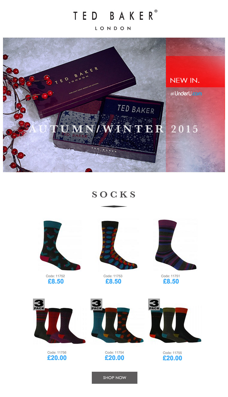 Ted Baker Men's Designer Socks and Ted Baker Underwear | UnderU