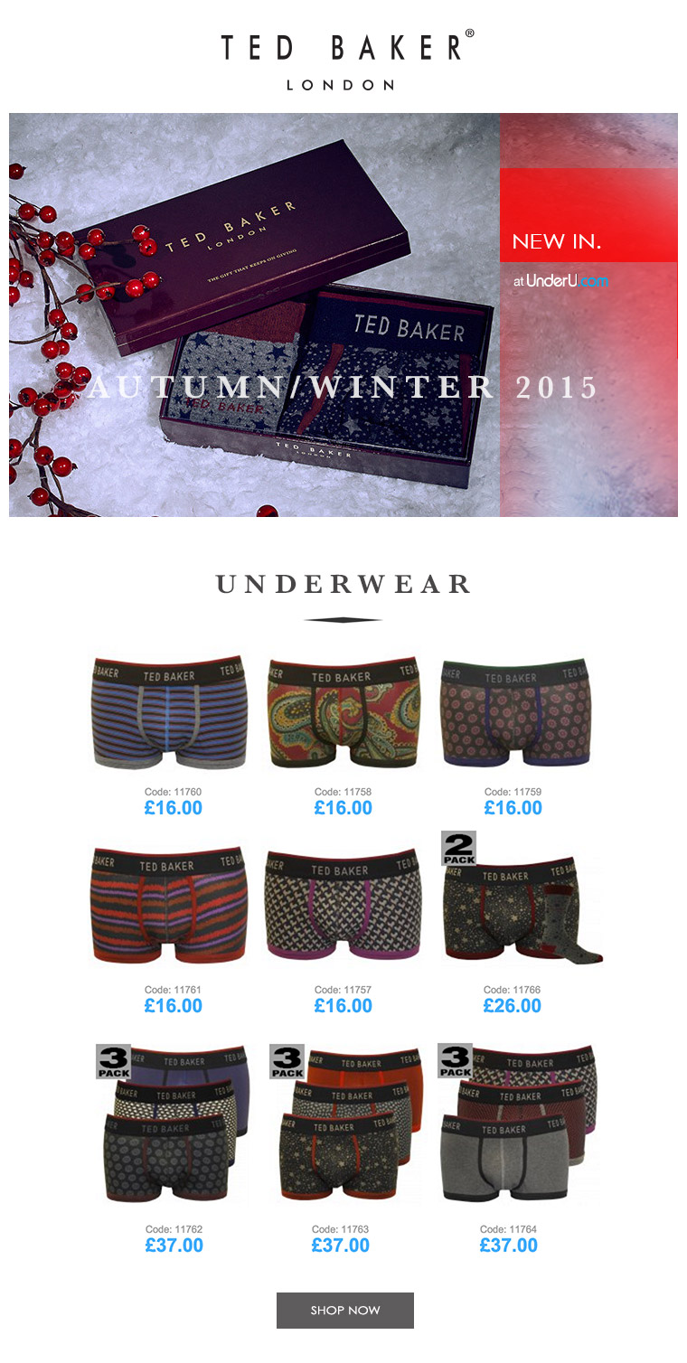 Ted Baker underwear AW15 collection | UnderU