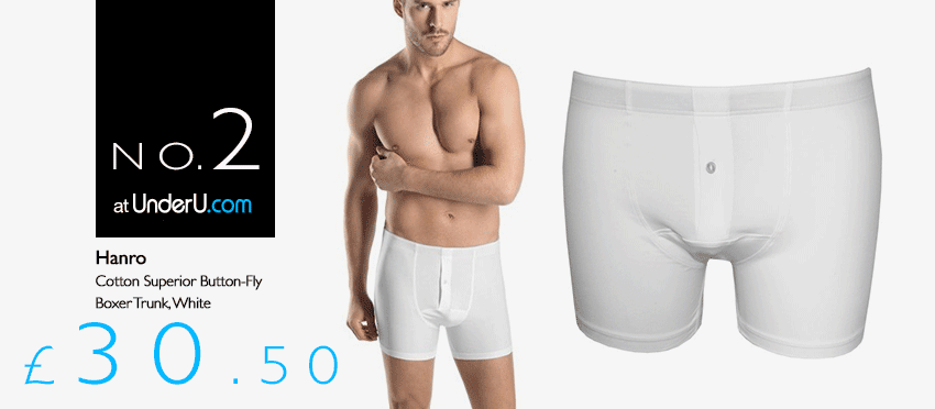 Hanro Mens Underwear White Button Fly Boxer Trunks | UnderU