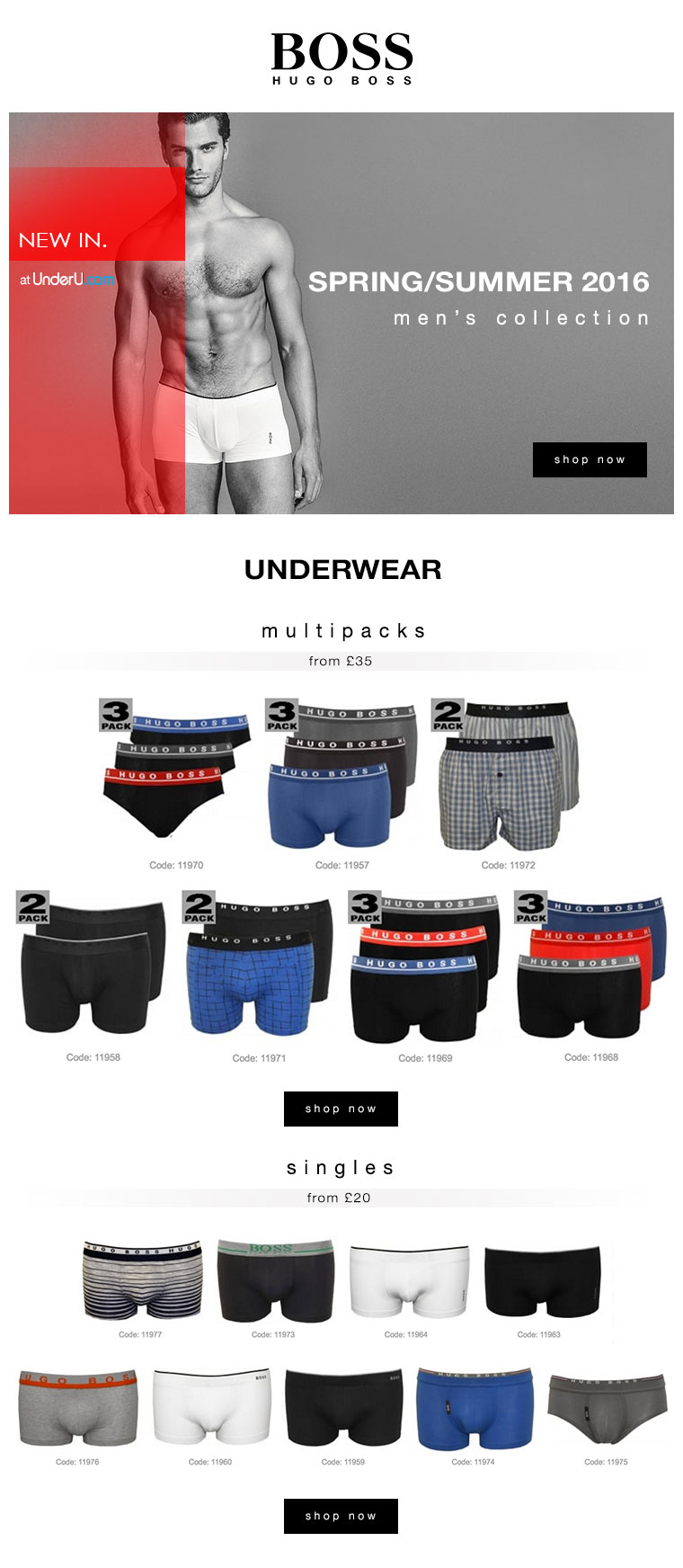 Hugo Boss Underwear SS16 Collection | UnderU