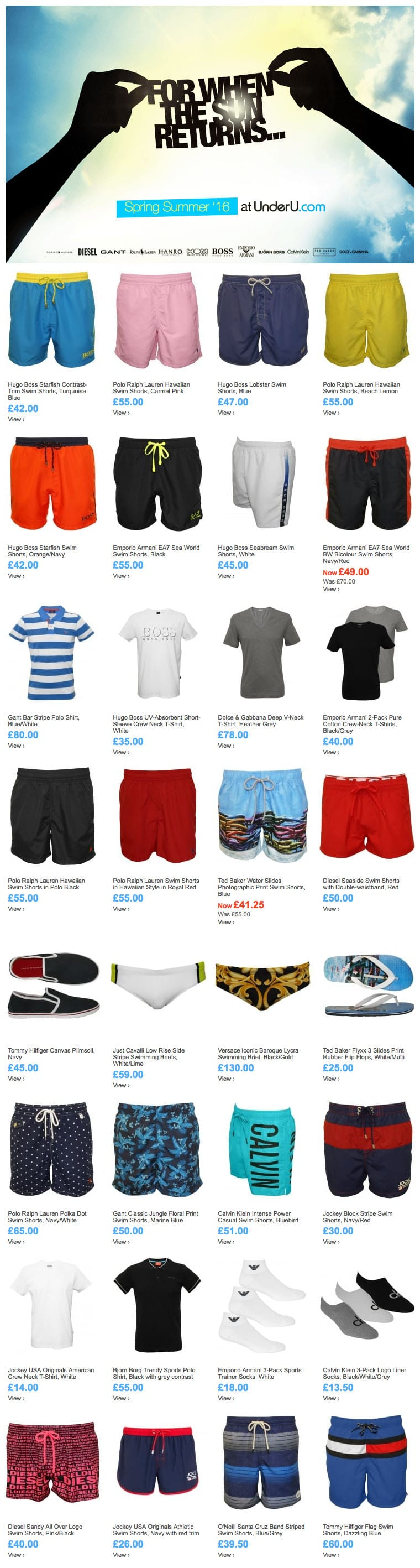 When The Sun Returns Choose A Pair Of Men's Swim Shorts | UnderU