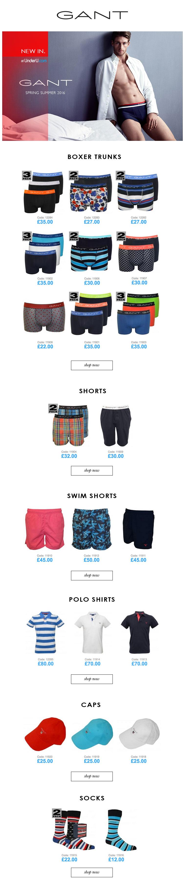 Gant Underwear & Gant Men's Swimwear SS16 collection | UnderU