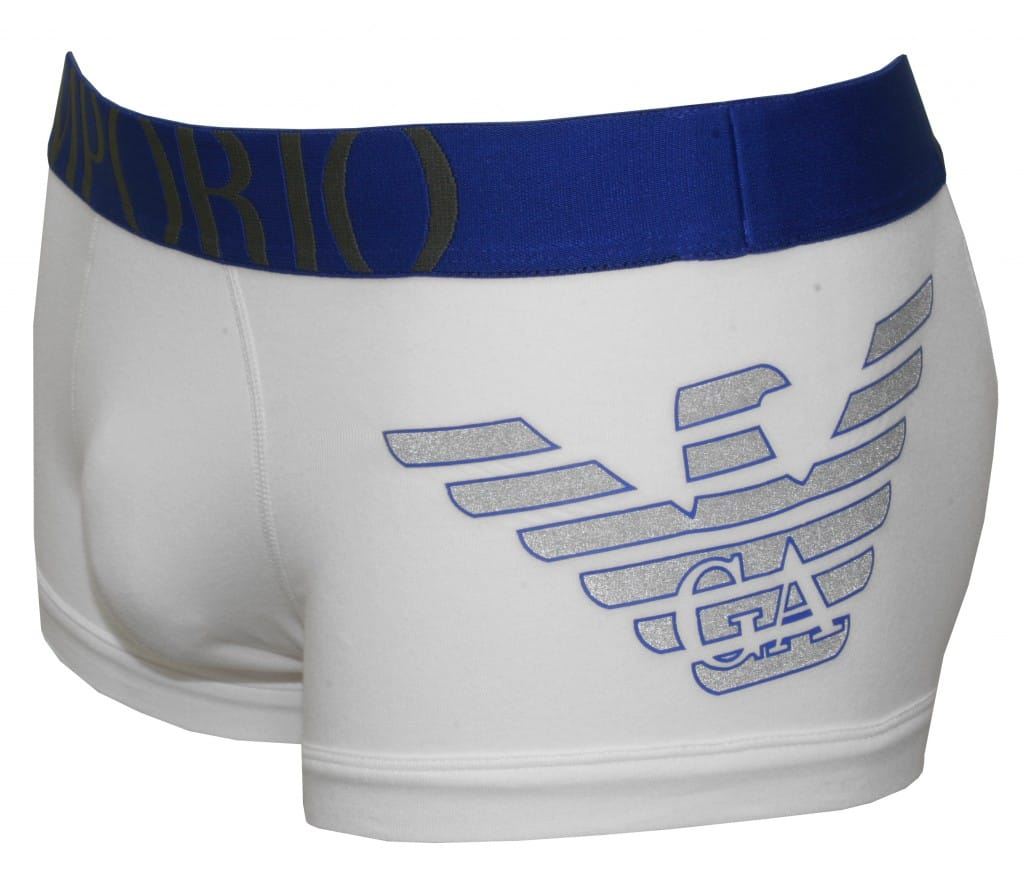 Emporio Armani Big Eagle Stretch Cotton Boxer Trunk, White-Blue | UnderU