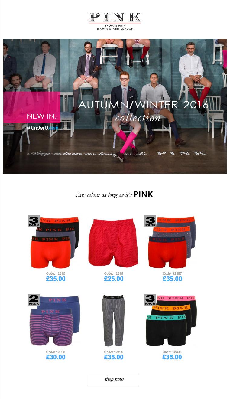 Thomas Pink Underwear A/W16 | UnderU