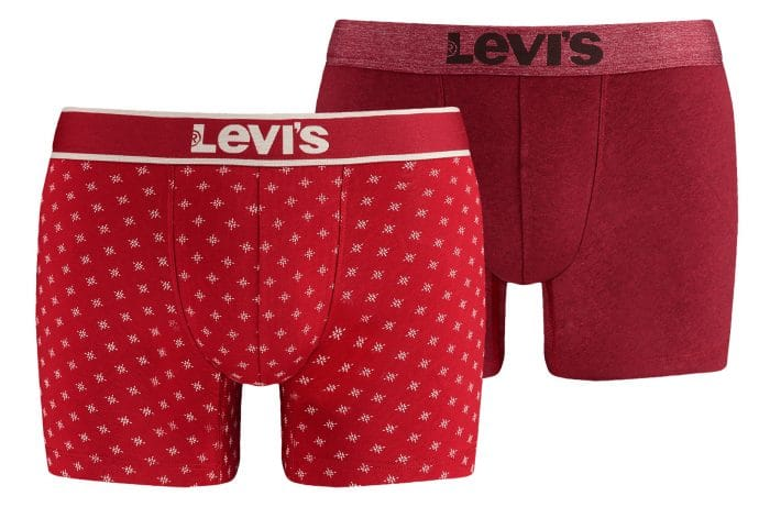 Levi's underwear snowflake boxers red