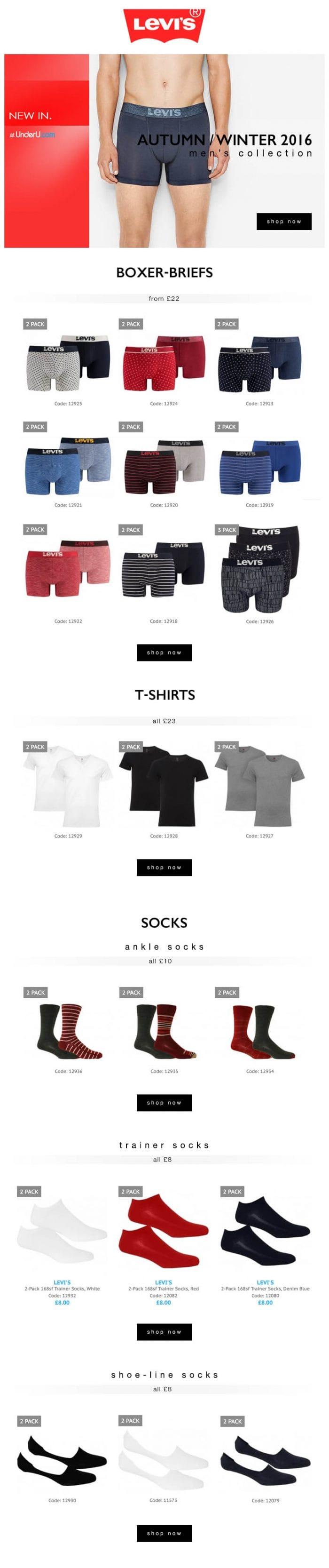 Levi's underwear AW16 blog