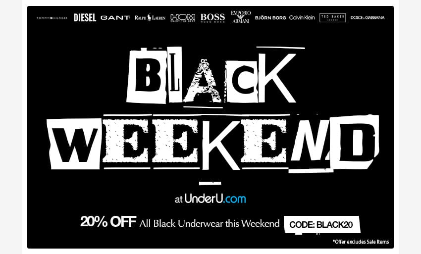 Black Friday Men's Underwear Weekend Special