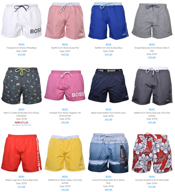 A screenshot of the most Recent BOSS men's swim shorts available here at UnderU. 12 shorts visible