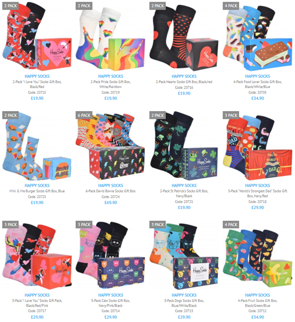 A selection our our recently added Happy Socks gift boxes