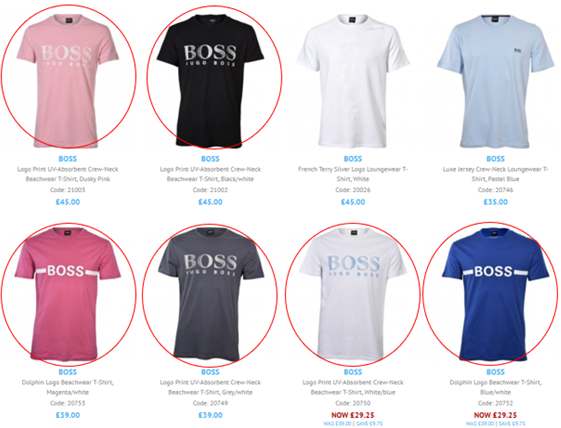 A screenshot of the recently added BOSS swimwear - in this case our selection of BOSS t-shirts designed to be perfect for summer.