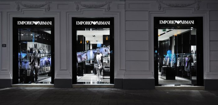 A picture of the outside of an Emporio Armani swimwear store