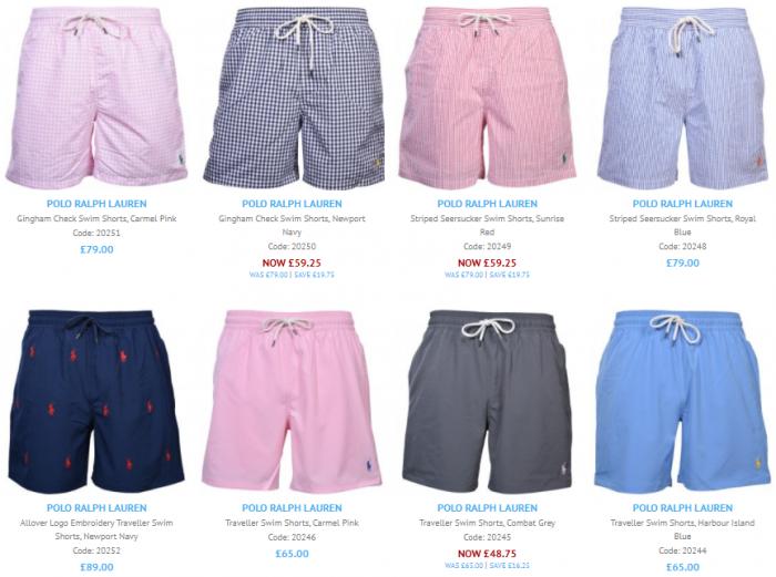 A screenshot showing our 8 most recent Polo Ralph Lauren swim shorts.