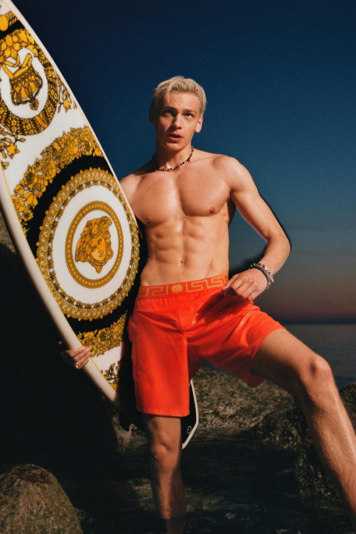 A picture taken from the Versace swim shorts campaign in 2021.
