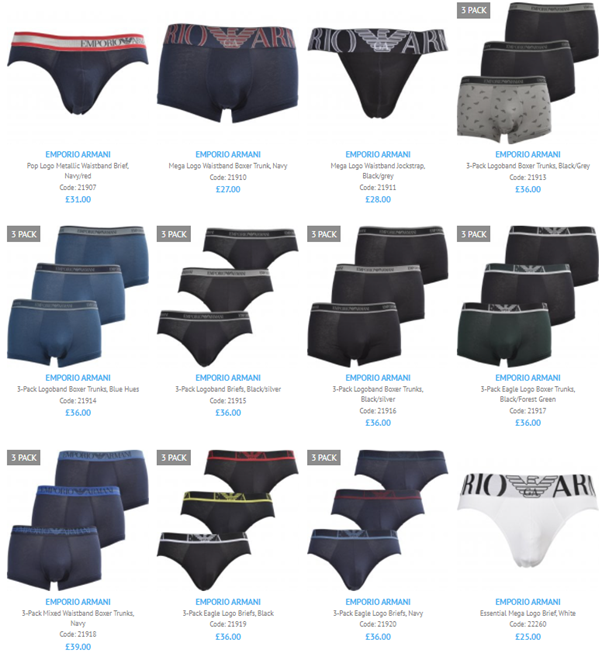 A screenshot of the 12 newest stocked Emporio Armani underwear products for Autumn/Winter2021