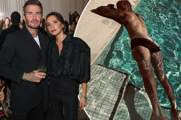 A picture of David Beckham wearing Versace boxers in a pool