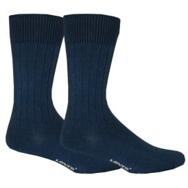 2-Pack 120sf Ribbed Socks, Beautiful Blue