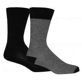 2-Pack 168sf Fine Stripe & Solid Socks, Jet Black