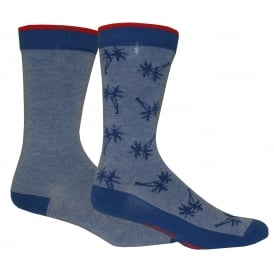 2-Pack 168sf Micro Stripe Palm Tree Socks, Blue Combo