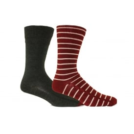 2-Pack 168sf Seasonal Stripe Regular-Cut Socks, Red/Charcoal