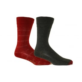 2-Pack 168sf Starry Stripe Regular-Cut Socks, Red/Charcoal