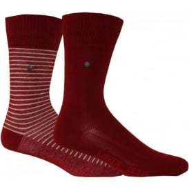 2-Pack 168sf Striped & Solid Socks, Red
