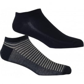 2-Pack 168sf Striped Trainer Socks, Denim Blue
