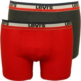 1ff3052e 2-Pack 200sf Levis Stripe Waistband Boxer Briefs, Red/Black