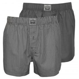 2-Pack 300 Levi Strauss Stripe Chambray Boxer Shorts, Anthracite Denim