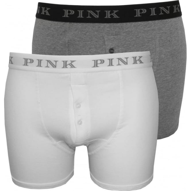Thomas Pink 2-Pack Baker Button-Fly Boxer Trunks, White/Grey