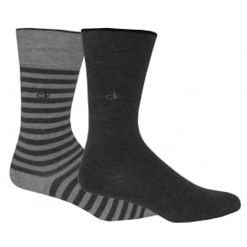 2-Pack Bar Stripe Socks, Oxford/Charcoal Heather