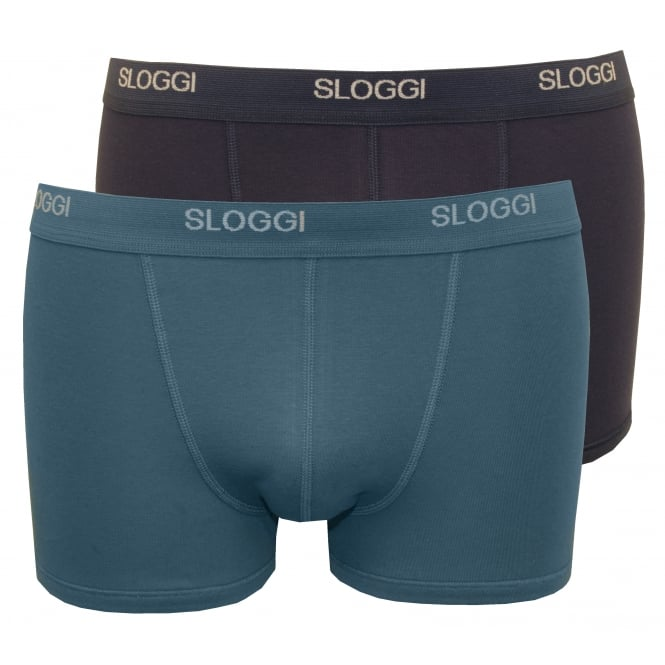 Sloggi 2-Pack Basic Short Boxer Trunks Gift Box, Blue/Navy
