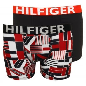 2-Pack Block Flag Print Bold Logo Boys Boxer Trunks, Red/Navy