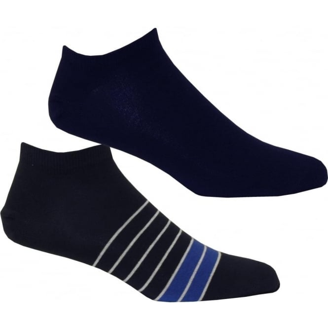 Tommy Hilfiger 2-Pack Breton Stripe & Solid Trainer Socks, Blue/Navy
